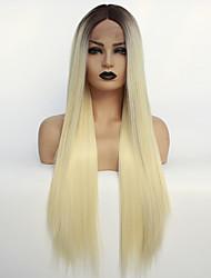 voordelige -Pruik Lace Front Synthetisch Haar / Ombre Dames Recht Blond Middelste stuk Synthetisch haar 22-26 inch(es) Hittebestendig / Kleurgradatie / Donkere wortels Blond / Ombre Pruik Lang Kanten Voorkant
