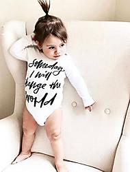 お買い得  -赤ちゃん 女の子 ストリートファッション 日常 プリント 長袖 ポリエステル ワンピース ホワイト