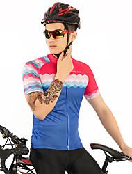 お買い得  -FirtySnow 男性用 半袖 サイクリングジャージー - ブルー+ピンク ソリッド チェック / 格子柄 バイク ジャージー, 高通気性 速乾性 ポリエステル / 伸縮性あり