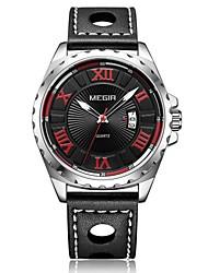 Недорогие -Муж. Наручные часы Кварцевый Кожа Черный Календарь Аналого-цифровые Мода - Черный / Нержавеющая сталь