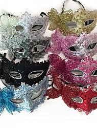 Недорогие -Принцесса Маски / Венецианская маска / Половинная маска Взрослые Прицесса Жен. Розовый / Цвет фуксии / Серебрянный Пластик / Кружево Для вечеринок Косплэй аксессуары Хэллоуин / Карнавал / Маскарад