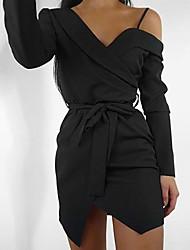 Недорогие -Жен. Оболочка Платье - Однотонный, Открытая спина Ассиметричное