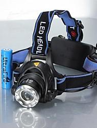 Недорогие -Налобные фонари Фары для велосипеда Светодиодная лампа LED 1 излучатели 1200 lm 3 Режим освещения с батарейками Масштабируемые, Водонепроницаемый, Регулируется