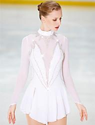 Недорогие -Платье для фигурного катания Жен. Девочки Катание на коньках Платья Белый Открытая спина Спандекс Эластичность Соревнование Одежда для фигурного катания Ручная работа