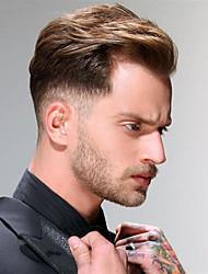 Недорогие -Муж. Натуральные волосы Накладки для мужчин Прямой 100% ручная работа Мягкость / Светло-коричневый