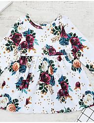 ราคาถูก -ทารก เด็กผู้หญิง Street Chic ทุกวัน ลายดอกไม้ แขนยาว เส้นใยสังเคราะห์ กระโปรงชุด ขาว