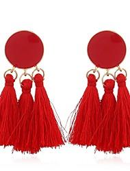 Χαμηλού Κόστους -Γυναικεία Φούντα Κρεμαστά Σκουλαρίκια - Στυλάτο, Μποέμ Κοσμήματα Πράσινο / Μπλε / Ροζ Για Γενέθλια Δώρο Γαμήλια Τελετή / 1 Pair