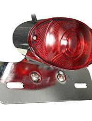 Недорогие -5 Вт мотоцикл задний тормоз кошачий глаз задний фонарь красная линза с хромированной скобой номерного знака