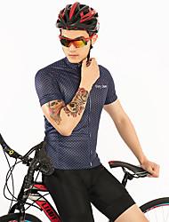 お買い得  -FirtySnow 男性用 半袖 サイクリングジャージー - ダークネービー チェック / 格子柄 バイク ジャージー, 高通気性 速乾性 ポリエステル / 伸縮性あり