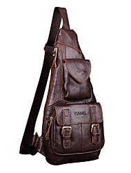 Недорогие -Муж. Мешки Слинг сумки на ремне Молнии Сплошной цвет Коричневый