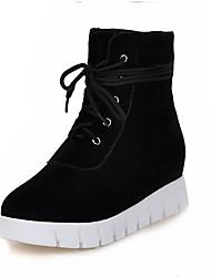 hesapli -Kadın's Ayakkabı Süet Sonbahar Kış Vintage / Minimalizm Çizmeler Gizli Topuk Kapalı Burun Yarı-Diz Boyu Çizmeler Günlük / Ofis ve Kariyer için Siyah / Badem / Kırmızı Şarap