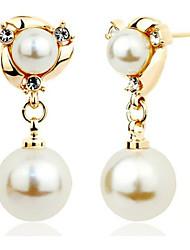 hesapli -1 çift Kadın's Klasik Vidali Küpeler - İmitasyon İnci Tatlı sevimli Stil Mücevher Altın Uyumluluk Düğün Parti