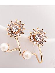 hesapli -1 çift Kadın's Eski Tip Tarz Vidali Küpeler - İmitasyon İnci Çiçek moda sevimli Stil Mücevher Altın / Gümüş Uyumluluk Randevu Cadde