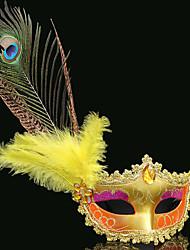 Недорогие -Маски / Венецианская маска / Перьевая маска Секси Красный + Золотой / Розовый + Glod / Pink + Silver Пластик / Перья Для вечеринок Косплэй аксессуары Хэллоуин / Карнавал / Маскарад костюмы
