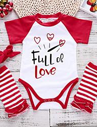 お買い得  -赤ちゃん 女の子 ストリートファッション 日常 プリント 半袖 ポリエステル ボディスーツ ルビーレッド