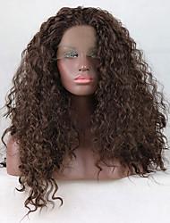 お買い得  -合成レースフロントウィッグ 女性用 カール ブラウン 無料パーツ 180% 人間の毛髪密度 合成 18-26 インチ 調整可 / レース / 耐熱 ブラウン かつら ロング フロントレース チェスナットブラウン