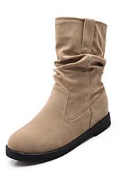 hesapli -Kadın's Ayakkabı PU Sonbahar Kış Vintage / Minimalizm Çizmeler Gizli Topuk Yuvarlak Uçlu Yarı-Diz Boyu Çizmeler Günlük / Ofis ve Kariyer için Siyah / Bej / Kırmzı