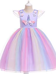 Недорогие -Дети Девочки Активный Милая Для вечеринок Праздники Unicorn Пэчворк С короткими рукавами До колена Платье Розовый