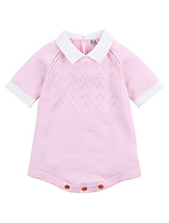 levne -Dítě Dívčí Aktivní Denní Jednobarevné Pohádkový motiv / Patchwork Poloviční rukáv Bavlna Bodysuit Světlá růžová
