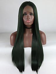 hesapli -Sentetik Dantel Ön Peruk Kadın's Düz Yeşil Orta kısım % 180 İnsan Saç Yoğunluk Sentetik Saç 18-26 inç Ayarlanabilir / Dantel / Isı Dirençli Yeşil Peruk Uzun Ön Dantel Yeşil