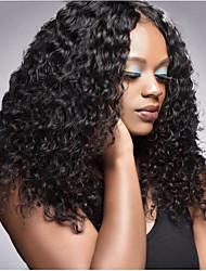 Недорогие -Не подвергавшиеся окрашиванию Лента спереди Парик Бразильские волосы Кудрявый Черный Парик Глубокое разделение 250% Плотность волос с детскими волосами Натуральный Лучшее качество Толстые с клипом