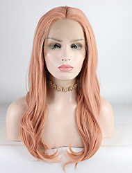 お買い得  -合成レースフロントウィッグ 女性用 カール ピンク ミドル部 180% 人間の毛髪密度 合成 18-26 インチ 調整可 / レース / 耐熱 ピンク かつら ロング フロントレース ピンク