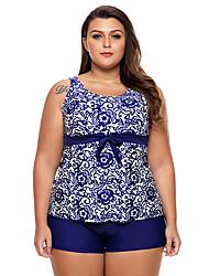 זול -XL XXL XXXL פפיון / דפוס גיאומטרי, בגדי ים טנקיני מותן גבוה פול כחול בהיר בסיסי בגדי ריקוד נשים