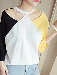 olcso -női ázsiai méretű póló - színes blokk kerek nyak