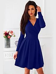 Недорогие -женское повседневное платье выше колена с V-образным вырезом белый красный черный s m l xl