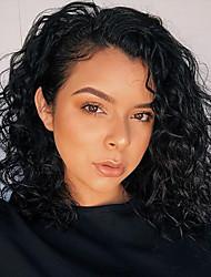 ieftine -Păr Natural Față din Dantelă Perucă Păr Brazilian Buclat Ondulat Negru Perucă Tunsoare bob Short Bob 130% Densitatea părului cu păr de păr Linia naturală de păr pentru Femei de Culoare 100% Virgin