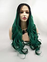 voordelige -Pruik Lace Front Synthetisch Haar Dames BodyGolf Zwart Gelaagd kapsel 130% Human Hair Density Synthetisch haar 24 inch(es) Dames Zwart / Groen Pruik Lang Kanten Voorkant Zwart / groen Sylvia