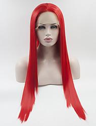 hesapli -Sentetik Dantel Ön Peruk Kadın's Düz Kırmızı Serbest bölüm % 180 İnsan Saç Yoğunluk Sentetik Saç 18-26 inç Ayarlanabilir / Dantel / Isı Dirençli Kırmızı Peruk Uzun Ön Dantel Kırmızı