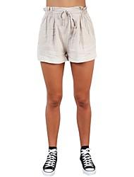 Недорогие -женские свободные шорты брюки - сплошной цвет с высокой талией бежевый