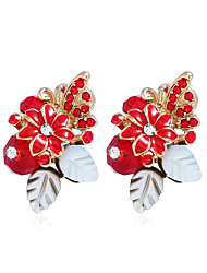 hesapli -Kadın's Kübik Zirconia Klasik Vidali Küpeler - Çiçek Tatlı, Moda Mücevher Kırmzı / Açık Mavi / Navy Mavi Uyumluluk Parti Seramoni / 1 çift