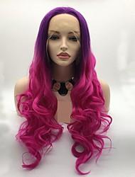 voordelige -Pruik Lace Front Synthetisch Haar Dames Gekruld / Watergolf Roze Gelaagd kapsel 130% Human Hair Density Synthetisch haar 24 inch(es) Dames / Ombre-haar Roze / Paars Pruik Lang Kanten Voorkant Roze