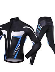 Χαμηλού Κόστους -Realtoo Μακρυμάνικο Φανέλα με κολάν για ποδηλασία - Μπλε και Μαύρο Ποδήλατο Spandex Κλασσικά / Μικροελαστικό