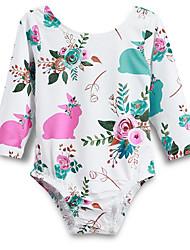 お買い得  -赤ちゃん 女の子 ストリートファッション 日常 フラワー 長袖 ポリエステル ボディスーツ ホワイト