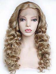 halpa -Synteettiset pitsireunan peruukit Naisten Kihara Vaaleahiuksisuus Keskiosa Synteettiset hiukset 22-26 inch Pehmeä / Heat Resistant / Naisten Vaaleahiuksisuus Peruukki Pitkä Liimattoman / Lace Front