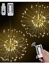 Недорогие -2 шт. USB светодиодные фейерверки огни 120 светодиодов 8 режим светодиодные струнные огни 20 см поделки букет гирлянды свет рождественские сказочные огни украшения