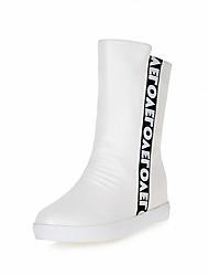 hesapli -Kadın's Ayakkabı PU Sonbahar Kış Vintage / Minimalizm Çizmeler Gizli Topuk Kapalı Burun Yarı-Diz Boyu Çizmeler Günlük / Ofis ve Kariyer için Beyaz / Siyah / Kırmızı Şarap