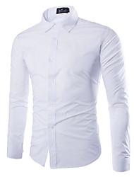 Недорогие -Муж. Рубашка Тонкие Однотонный / Длинный рукав