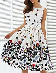Недорогие -Жен. Элегантный стиль Оболочка Платье - Цветочный принт, С принтом До колена / Сексуальные платья