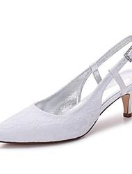 hesapli -Kadın's Ayakkabı Dantel İlkbahar yaz Tatlı Düğün Ayakkabıları Minik Topuk Sivri Uçlu Düğün / Parti ve Gece için Işıltılı Pullar Beyaz / Kristal