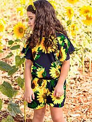 お買い得  -赤ちゃん 女の子 活発的 日常 フラワー 半袖 ポリエステル ワンピース ブラック