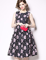 billige -Prinsesse Besmykket Knelang Jersey Kjole med Mønster / trykk av