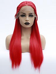 voordelige -Pruik Lace Front Synthetisch Haar Dames Havana Twist Rood Middelste stuk Synthetisch haar 22-26 inch(es) Hittebestendig / Dames / Middenscheiding Rood Pruik Lang Lijmloze / Kanten Voorkant Rood