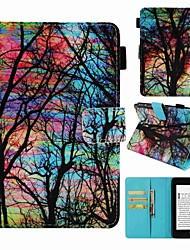 Недорогие -Кейс для Назначение Amazon Kindle PaperWhite 4 Бумажник для карт / Защита от удара / С узором Чехол дерево Твердый Кожа PU