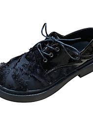 halpa -Naisten PU Kevät Vapaa-aika Oxford-kengät Matala korko Musta