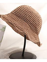 Недорогие -Жен. Классический Шляпа от солнца Солома,Однотонный Темно синий Серый Хаки