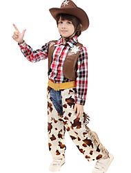 ieftine -Westworld West Cowboy Costume de cowboy Băieți Pentru copii Ținute Activ Crăciun Halloween Carnaval Festival / Sărbătoare Piele Bumbac Ținutele Cafea Tartan / Carouri